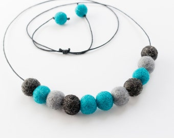 Turquoise  Felt Ball Necklace. Beaded Jewellery. Pom Pom Jewelry. Wool Felt Ball Accessories. Beaded necklaces. Aqua Teal Grey Necklace.