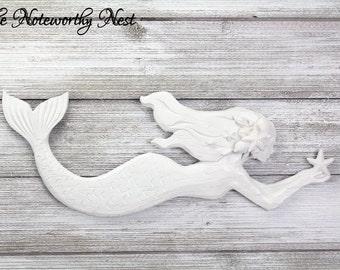 ANY COLOR mermaid wall hanging / resin mermaid // girls bedroom decor // beach decor // pool decor // teens room / mermaid lover