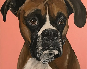 Boxer art print from original painting, Boxer dog art print
