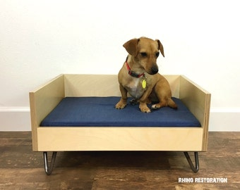 Birchwood - Birchply  Pet Bed with Mid Century Modern Lines - Solid Wood - Steel Hairpin Legs - Hand Crafted - High Back -