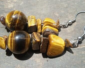 African earrings, tiger's eye stones, Fair Trade jewelry, handmade jewelry
