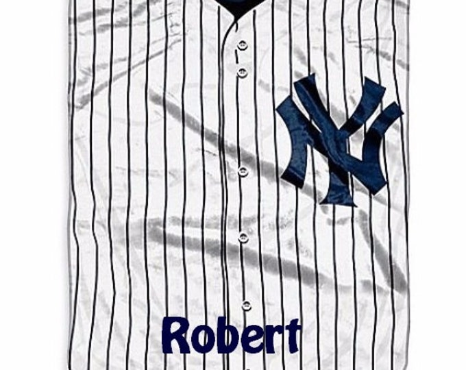 MLB New York Yankees Jersey Raschel Throw Blanket - Personalized