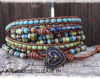 Boho Beaded Wrap Bracelet/ Seed Bead Leather Wrap Bracelet/ Leather And Seed Bead Wrap Bracelet/Leather Bracelet/ Boho Wrap Bracelet.