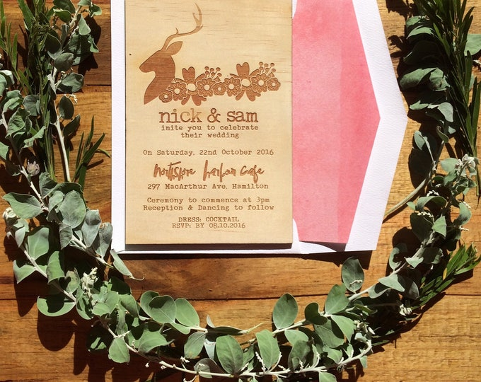 Wooden wedding invitation. -Limited Edition Wood invitation and watercolour lined envelope set- Stag wedding invitation. 10 pack