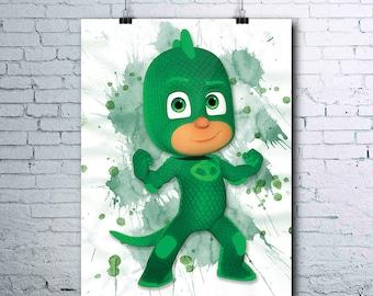 PJ Masks Birthday - Gekko - Gekko Poster - PJ Masks Printables - Gekko Print - Watercolor Print - PJ Masks Wall Art - Gekko Art