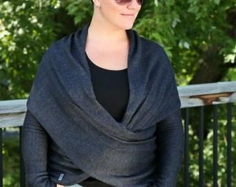 Versatile shawl with sleeves - alpaca and silk