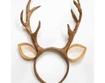Deer / Reindeer Antlers with Ears Headband Kids Adult Costume Cosplay Fawn Woodland Creatures Photo Prop
