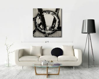 Abstract Art Painting, Wall Art, Home Decor, Black and White, Acrylic, Modern, Contemporary, Square 36x36 Gift Idea, Toronto