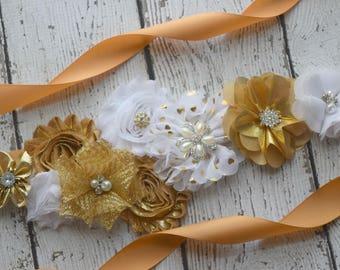 Flower Sash,Gold  white Sash, #2, flowersash  Belt, maternity sash, flower sash