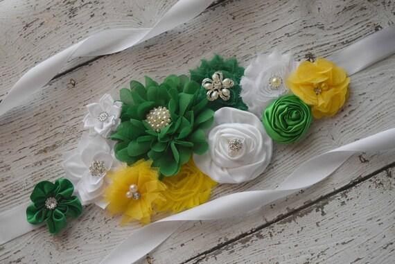 Flower Sash, Green yellow and white Sash #2 , flower Belt, maternity sash, flower girl sash