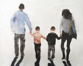Family Walk - Art Print - 8 x 10 inches - from original painting by J Coates