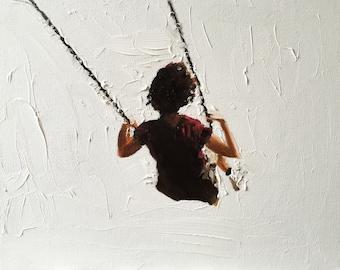 Girl Swing Painting Swing Girl Art PRINT Girl on Swing - Art Print  - from original painting by J Coates