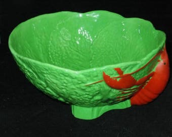 Rare Maling Pottery  Lobster Bowl Cabbage Leaf Design with a large red Lobster on side very unique