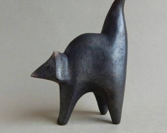 """Ceramic sculpture """"Black cat"""""""