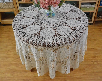 Diameter: 220CM Round ~ Gorgeous huge tablecloth round, handmade crochet table cover, high quality crocheted table cloth~ Highly Recommend