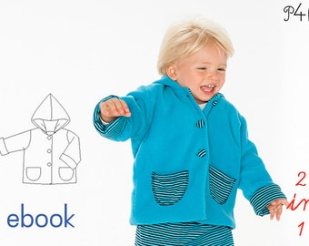 Hoodie pattern, Baby Jacket Pattern for Boys or Girls, lined, children toddler kids, 1 3 6 9 12 18M 2 3Y Sewing Pattern from Pattern4kids