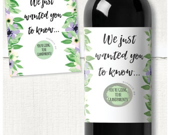 """Floral pregnancy announcement wine bottle scratch label - waterproof & removable: """"You're going to be Grandparents"""""""