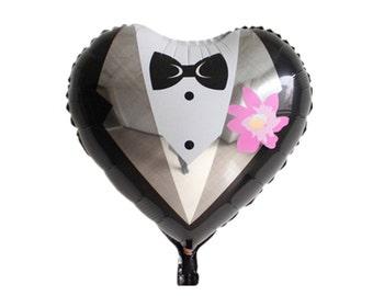 Foil Heart balloon groom suit