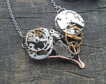 Steam punk necklace Steampunk outfit Watch parts jewelry Mechanical pendant
