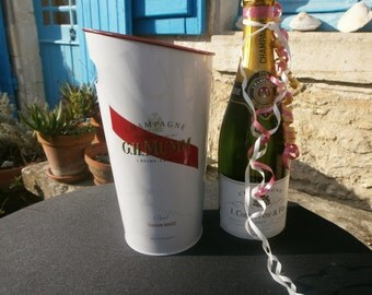 G.H Mumm Champagne bucket, ice bucket, metal, French, wine cooler, Cordon Rouge, FLOWER VASE, holder, drinks cooler, alcohol, wine,