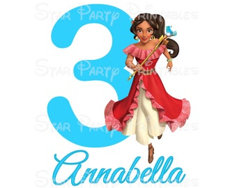 Digital File, Personalized Elena, Avalor, Digital Image, DIY for T shirt Printable Iron On Transfer Sticker custom Birthday Shirt image