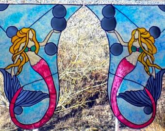 wicoart sticker window cling stained glass effect lot of 2 corners art deco mermaid