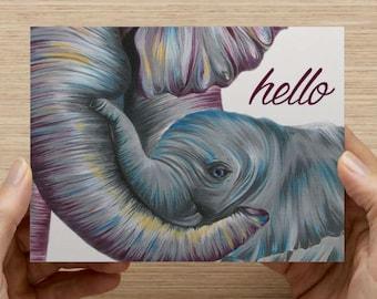 "Elephants Greeting Card - Set of 20 5.5x4"" folded cards"