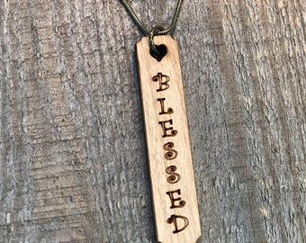 Blessed Quote Necklace, Group Discounts, Wedding Gifts, Laser Engraved Quote Necklace, Customized Jewelry, Bursting Barns