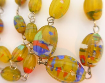 Vintage Czech Art Deco Rainbow Melon Glass Bead Chain Link Necklace