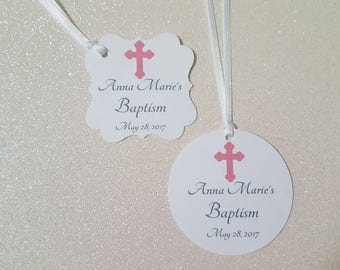 Baptism Favor Tags *Pink Baptism Favor Tags *Religious Cross Favor Tags *Pink / Silver Gray*Christening Tags *Communion Tags *PERSONALIZED