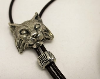 Lynx pendant necklace sterling silver leather cord