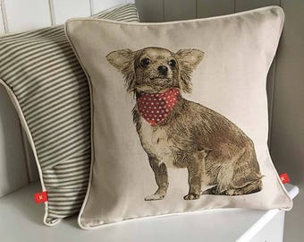 Long hair Chihuahua cushion, brown chihuahua pillow, handmade in UK, gift for dog lover, ideal housewarming gift, home furnishing