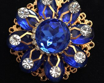 Royal Blue Rhinestone Brooch / Pin