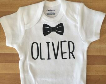 baby boy name onesie, bow tie onesie, bowtie outfit, boy shirt, baby boy, shower gift, baby shower, new baby