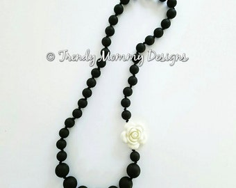 SALE! Black with Cream Flower Silicone Teething Necklace for Mom! CPSIA Compliant,  FDA Approved