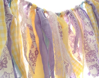 Purple and yellow rag banner, purple and yellow nursery banner, spring rag banner, purple and yellow fabric banner RTS