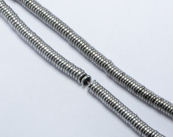 """Hematite Heishi Beads in 6mm x 1mm, Silver Tone, 16"""" Inch Strand, Disc, Spacers, Non-Magnetic #SD-S8487"""