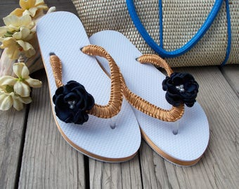 Flower sandals, decorated flip flops, beach wedding shoes, bride sandals, gold, navy, white, tropical luau, women sandals, floral shoes