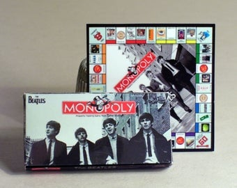 Beatles Monopoly Game - Dollhouse Miniature 1:12 scale Dollhouse Accessory - Game Box & Game Board -  Dollhouse Beatles music game