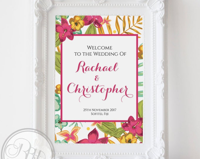 Tropical Wedding Welcome Sign-Custom Wedding Sign-Large Wedding Sign-Custom Provided-Digital JPG FILE-DIY Printable-Tropical Island Matilda