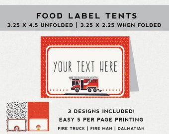 Firetruck Food tents,  Fireman party decorations, Dalmatian,  Firetruck birthday party food labels, custom printable files, editable text