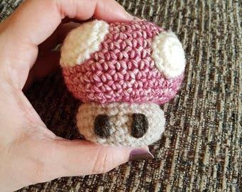 Rustic Nintendo mushroom inspired crochet mini plush