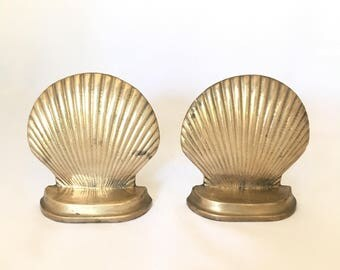 Set of Two Brass Shell Bookends