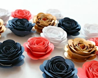 Baby Shower Decor, Paper Roses, Garden Wedding, Small Paper Flowers, Party Table Decor, Flower Wall Decor, Navy and Coral, Boho Floral