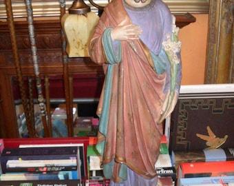 52cm high sacred figure around 1900, 52cm-high statue to 1900