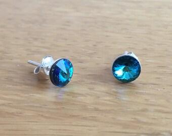 Sterling silver & Swarovski rivoli 6mm stud  ear-rings - Bermuda Blue