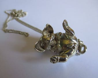 Silver Pig Pendant and Chain
