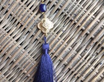 Navy silk tassel necklace