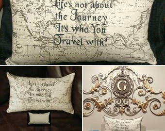 """World Map Pillow Cover, Decorative Pillows, """"Life's Not About the Journey It's Who You Travel With"""" Throw Pillow, Embroidered Home Decor."""