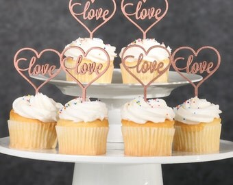 Cupcake Toppers-Rose Gold Love & Heart Cupcake Toppers-6 Set Cupcake Toppers-Love Cupcake Toppers-Engagement Party Cupcake Topper